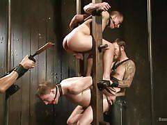 gay bdsm, sex slave, leather pants, gay anal, gay foursome, dildo fuck, ass spanking, ball gagged, bound gods, kink men, van darkholme, eli hunter, doug acre, christian wilde