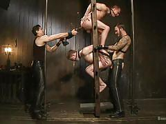 gay bdsm, sex slave, leather pants, gay anal, gay foursome, dildo fuck, ass spanking, ball gagged, bound gods, kink men, van darkholme, eli hunter, doug acre, christian wilde