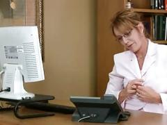 Horny office secretary milf masturbation