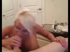 Super hot busty milf sucks a dick on webcam