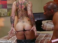 Tattooed blonde slut gets banged very hard