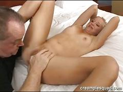Cute blonde creampied