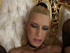 Skinny blond doing anal