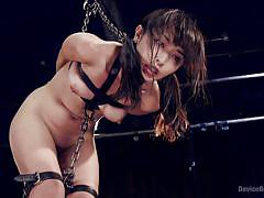 Asian babe is all chained up