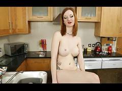 British slut zara frigs herself in the kitchen