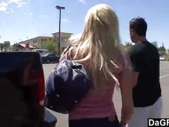 Picking up a blonde teen from the streets