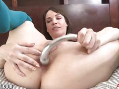 Sexy brunette lesbians munch and dildo their cunts