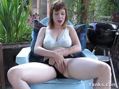 Hairy amateur twila masturbating outdoors