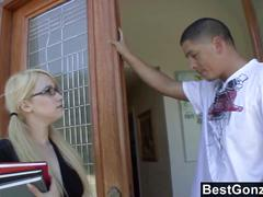 Slutty blonde fucks her bff's brother
