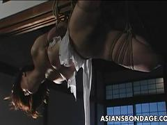 Helpless japanese cutie tied upside down