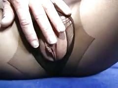 Black pantyhose blonde sex tease