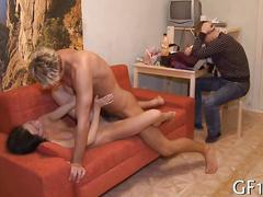 Cuckold face palms while his girlfriends gets fucked doggy style