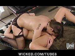 Slutty bigtit blonde cop licks  fucks horny brunette's wet pussy