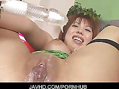 Lewd asian chick mei amasaki gets load of cum on her tight snatch