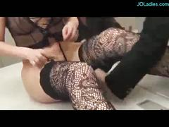 Office lady in lingerie fucking both holes with toys in...