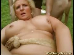 Wild german garden fuck party