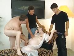 Pregnant blonde with glasses & 3 guys