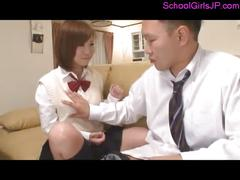 Schoolgirl licking schoolguy asshole getting her...