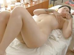 Curvy asian gets massaged and cum on