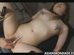 Japanese slave gets stuffed by warm cum.