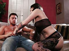 big ass, blowjob, couch, punk, tattooed, from behind, undressing, brunette babe, fishnet costume, burning angel, sierra cure, seth gamble