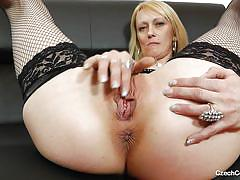 Czech blonde bitch masturbating