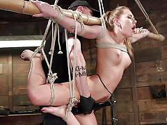 bdsm, hanging, vibrator, tied up, blonde babe, ball gag, device bondage, rope bondage, hogtied, kink, carter cruise