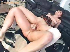 Sweet little schoolgirl gets her tight cunt nailed