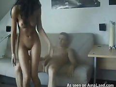 Naked brunette chick fucking hard