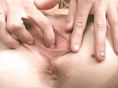 Horny blonde slut reveals her funky butt hole