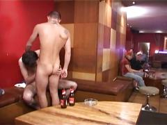 Furious bareback anal whacking with drunk studs