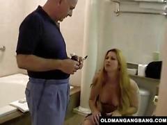 Two grandpas fuck busty redhead