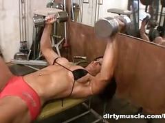 Gym dildo play