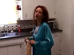 Big white cock fucks hot redhead milf in kitchen