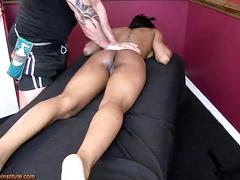 Black babe has screaming squirting orgasms w/white masseuse