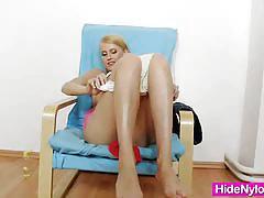 Skinny blonde babe kasia linsey nylon fetish.