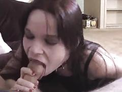Gothic chick slut sucks for cum