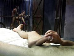 Threesome interracial in prison. a.s.