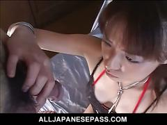 Horny japanese gal in black stockings sucking dick