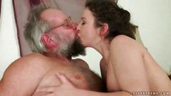 Lucky grandpa fucks hairy young girl