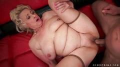 Busty fat grandma getting fucked on sofa