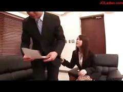 Hot busty office lady giving blowjob for guy on the couch...
