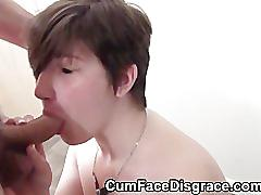 Teen tabby nervously takes facial cumshots