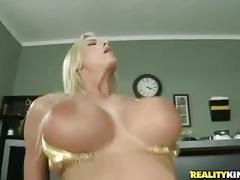 Busty blonde babe does as she's told