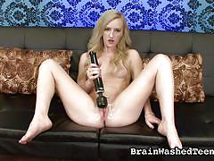 Blonde cutie is brainwashed towards my rock hard cock