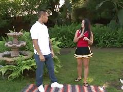 Hot cheerleader gets banged in the garden