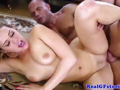 Beautiful blonde duo fuck a gardener together
