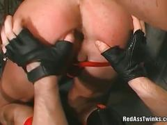 Sexy gay with tight ass gets good fingered.
