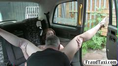 Curvy taxi customer fucked by her driver