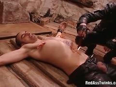 Kinky stud tied and tortured rough
